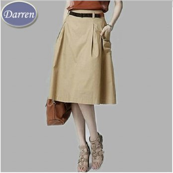 [globalbuy] Fashion Style New Summer Casual A-line Pockets Skirt Khaki and Black Solid Mid/4201707