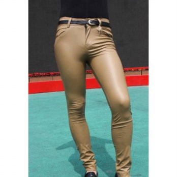 [globalbuy] 2016 High quality Men Sexy Fit Tight Zipper men pants Skinny Pants Faux Leathe/4210421