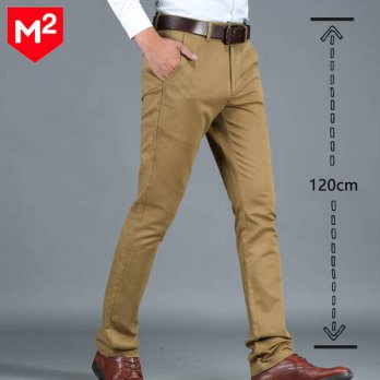 [globalbuy] Business Pants Men Regular Fit Straight Trousers Casual Cotton Office Pant Men/4210416