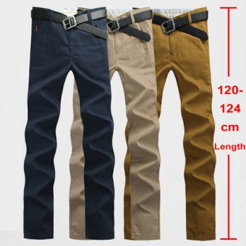 [globalbuy] 120cm Extra Long Mens Chinos Pants Plus Size 28~44 Mens Casual Pants Slim Stra/4210411