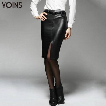 [globalbuy] YOINS Autumn Winter Fashion 2016 Women PU Leather Slim Bodycon Knee Length Ski/4201803