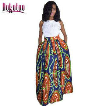 [globalbuy] 2016 Abstract Floral African Print Navy Maxi Skirt LC65008 fashion women autum/4201792