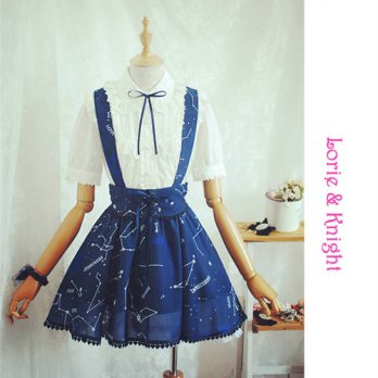 [globalbuy] Girls Navy Blue Constellation Printing Lolita Suspender Skirt/4201751
