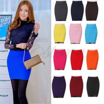 [globalbuy] New Fashion Womens Sexy A-Line Candy Color Elastic High Waist Stretchy Slim Se/4201736