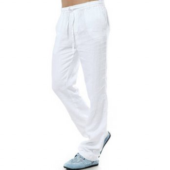 [globalbuy] 2016 New Summer Elastic Waist Thin Breathable Linen Trousers White Linen Casua/4210456
