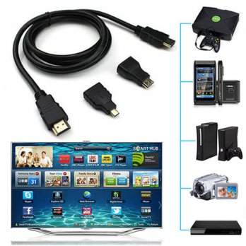 [globalbuy] Durable Adapter Converter 3 In 1 V1.4 HDMI TO HDMI Mini HDMI Micro HDMI Cable /3689698