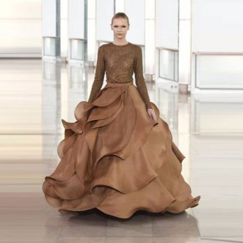 [globalbuy] Gorgeous Ruffles Tired Very Puffy Skirts For Women Chocolate Ball Gowns Formal/4201670