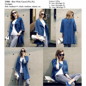 Blue Wide Casual (M,L,XL) Cardigan -25886