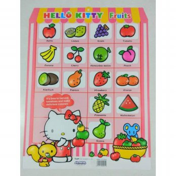 Poster Educational Chart: Hello Kitty Fruits Buah Anak Belajar Makanan