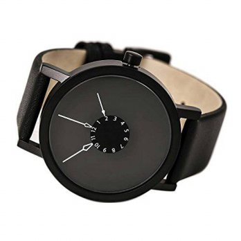 [macyskorea] Projects 40mm Black Nadir Quartz Watch with Matching Leather Strap 7265/15861930