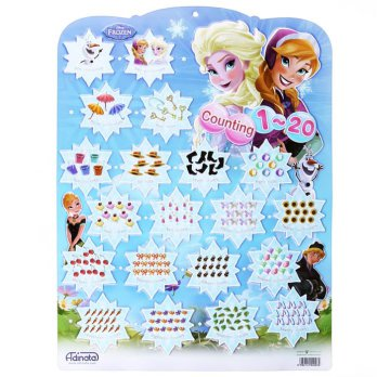 Poster Educational Chart Besar: Counting 1-20 -Disney dan Hello Kitty