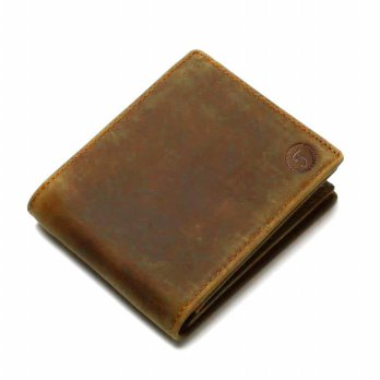 Tauren Dompet Retro Pria Model Horizontal Bahan Kulit Sapi - Brown