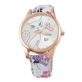[macyskorea] Souarts Womens Pink Flower Pattern Band Cat Pattern Dial Quartz Analog Wrist /15779377