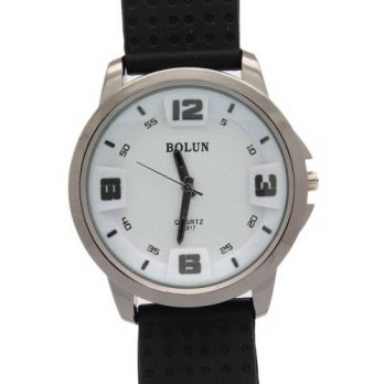 [macyskorea] Bolun Mens Black and White Circle Dial Quartz Rubber Watches/15779085