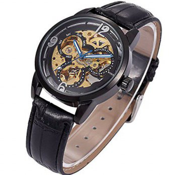 [macyskorea] ManChDa Self-winding Mechanical Skeleton Black Leather Women Mens Wrist Watch/15778778