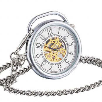 [macyskorea] ManChDa Big Case Skeleton Mechanical Pocket Watch Fob Steampunk Open Face for/15781056