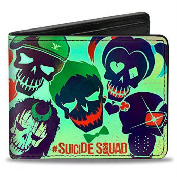 [macyskorea] Buckle Down Bi-Fold Wallet - SUICIDE SQUAD 10-Stylized Character Faces Scatte/14100239