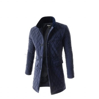 NDC07 Mens Slim Fit Chest Pocket Decoration Padded 5 Button Quilting Long Coat