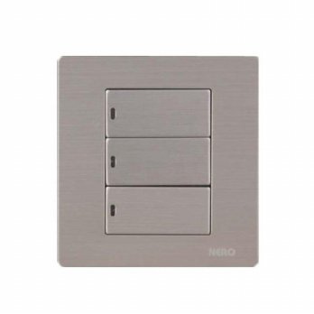 Nero Titanium V101632D-S Saklar Listrik ( 3 Gang 2 Way Switch with LED Locator ) – Silver