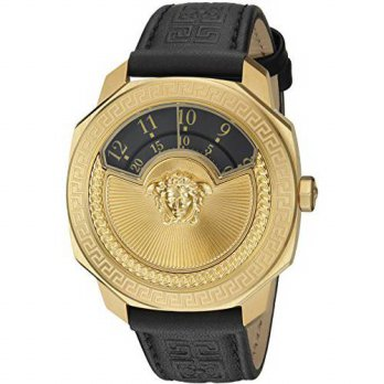 [macyskorea] Versace Womens Dylos Icon Swiss Quartz Stainless Steel and Black Leather Casu/16146133