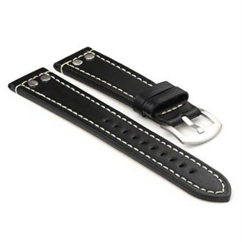 [macyskorea] StrapsCo Black Thick Leather Watch Strap with Rivets size 20mm/16146195