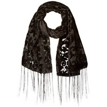 [macyskorea] D&Y Womens Velvet Damask Burnout Scarf, Black, One Size/15180415