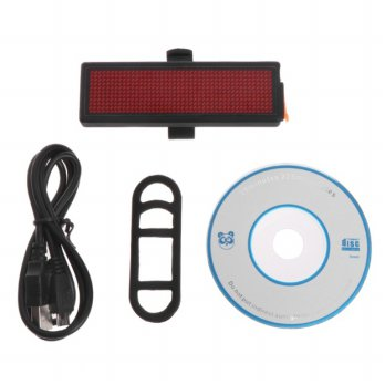 Lampu Belakang Sepeda LED Tail Light DIY Word Display - Black