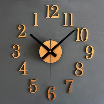 Jam Dinding DIY Giant Wall Clock 25cm Diameter - Golden