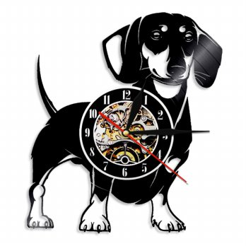 Jam Dinding Quartz Creative Design Model Doggy - Black