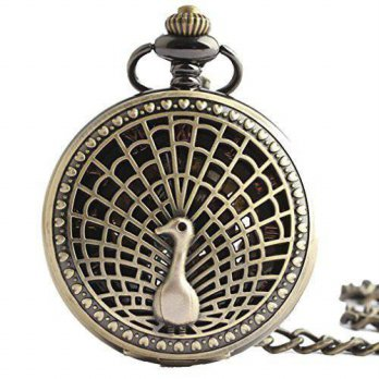 [macyskorea] Generic Steampunk Mechanical Pocket Watch with Chain Peacock Carve Patterns D/15780936