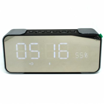 Jam Weker Alarm Meja LED dengan Speaker Bluetooth - PTH-305 - Gray
