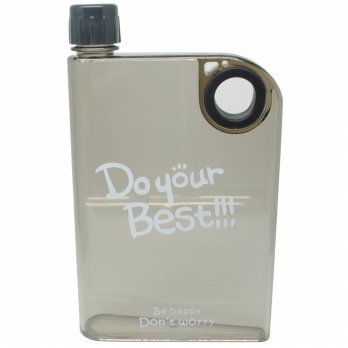 Memobottle Botol Minum Flat 380ml - Clear - Black