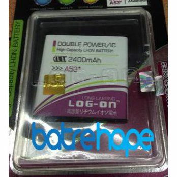 Baterai Battery Double Dobel Power Log-on Logon Evercross Cross A53* A-53* 2400Mah