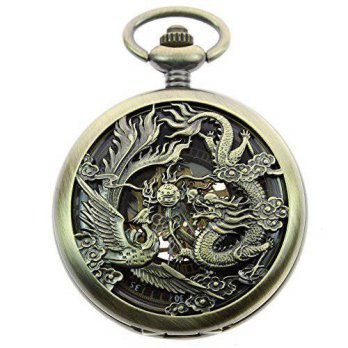 [macyskorea] Itemstoday Mens Antique Phoenix and Dragon Roman Number Dial Skeleton Mechani/15780670