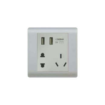 Casa F1689 2.4 DC 5V 2 Gang USB Charging Socket + 10A 250V~ 1 Gang 2 Pin Universal Socket Outlet & 3 Pin Chinese Socket Outlet With Shutter