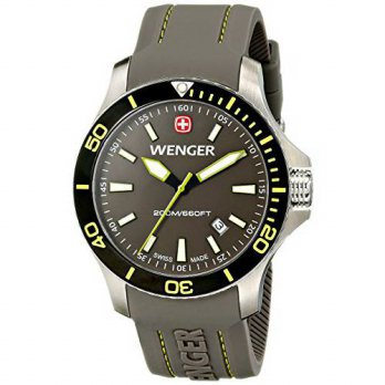 [macyskorea] Wenger Mens 01.0641.110 Sea Force 3H Stainless Steel Watch with Silicone Band/15810139