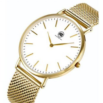 [macyskorea] AIBI Mens Simple Ultra-thin Gold-Tone Stainless Steel Wrist Watch with Mesh B/15810218