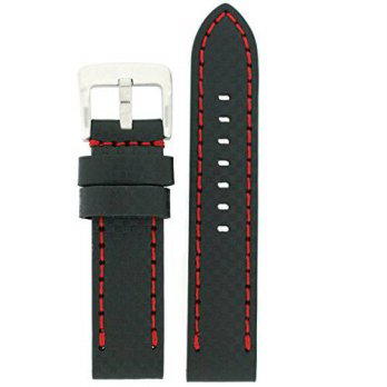 [macyskorea] Tech Swiss Watch Band Genuine Leather Carbon Fiber Print Black Red Stitching /15810231