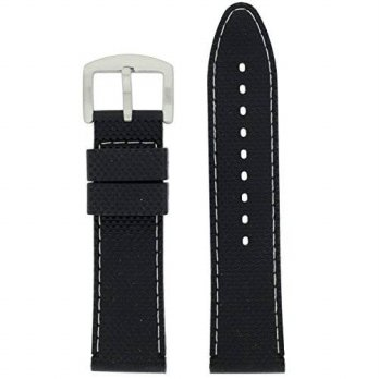 [macyskorea] Tech Swiss 24mm Watch Band Silicone Rubber Black White Stitching Waterproof C/15810443