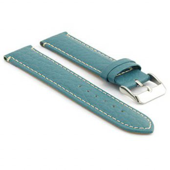 [macyskorea] StrapsCo Sky Blue Pebbled Leather Watch Strap with White Contour Stitching si/15819194