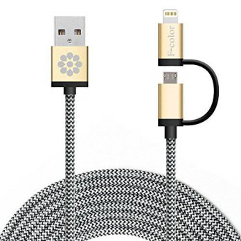 [macyskorea] iPhone 6S Charger, 10Ft Long, F-color 2 in 1 Nylon Braided Lightning Cable fo/16065603