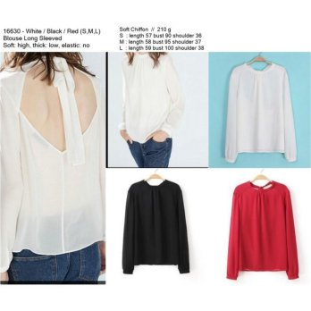 [BLOUSE] ATASAN IMPORT, BACKLESS, SOFT CHIFFON, WHITE,BLACK,RED, MURAH