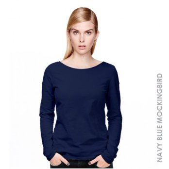 [KAOS] KAOS WANITA LENGAN PANJANG WOMEN LONG SLEEVE (NAVY BLUE MOCKINGBIRD)