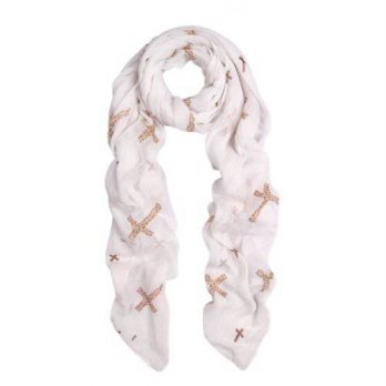 [macyskorea] TrendsBlue Elegant Leopard Cross Animal Print Scarf, White/14102408