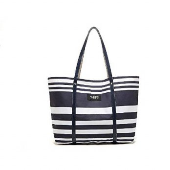 [macyskorea] Caixia Womens Waterproof Polyester Stripes Tote Shoulder Bag Navy Blue +White/13775998