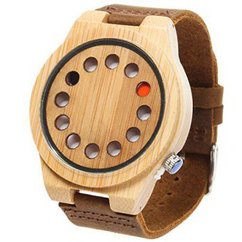 [macyskorea] FunkyTop Creative Mens 12 Holes Design Bamboo Wooden Watches Brown Leather Ba/15812265