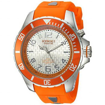 [macyskorea] KYBOE Power Quartz Stainless Steel and Silicone Casual Watch, Color:Orange (M/15812448