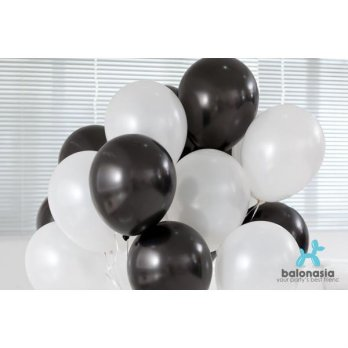 Balon Latex Metalik Mix 30 pcs (hitam, putih)