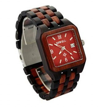 [macyskorea] Ideashop Mens Red and Black Square Wood Watch Quartz Wristwatch With Auto Dat/15864399