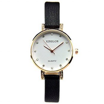 [macyskorea] XINSLON Womens Crystal Gold Dial Fashion Leather Watch Black Strap/15781513